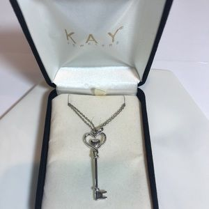 Kay Jewelers Silver Heart Key Charm and Necklace